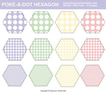 Poke-A-Dots on Hexagons Clip Art