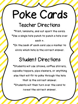 Poke Cards: Addition With Dice