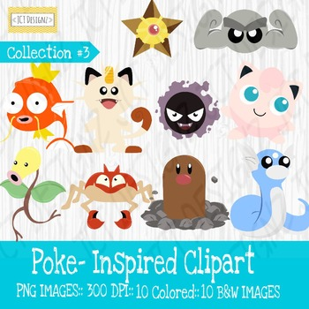 Poke-Inspired Clipart: Collection 3