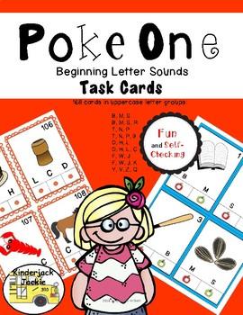 Poke One Beginning Sounds Task Cards