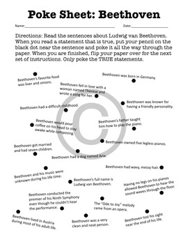 Poke Sheet: Beethoven (Poke Holes Through Your Paper...On Purpose!)