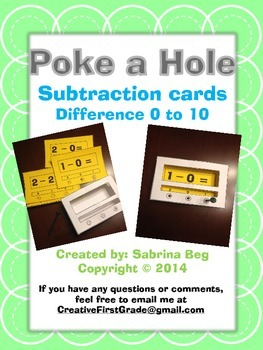 Poke a Hole Subtraction Facts