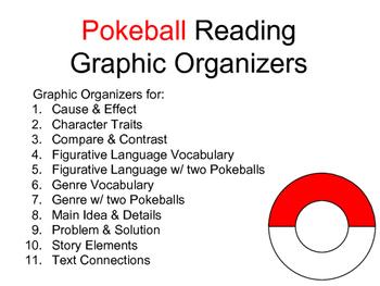 Pokeball Reading Graphic Organizers BUNDLE