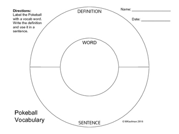 Pokeball Vocabulary Graphic Organizers BUNDLE