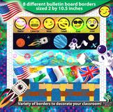Bulletin Board Border multipack - Emoji, Flag, Space, Math, Gears, Race & more!