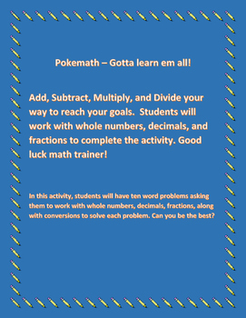 Pokemath - Gotta learn em all! Math Worksheet