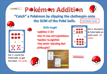 "Pokémon ADDITION- ""Catch"" the Poké Balls with a Clothespin- 2 sets"
