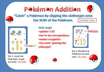 "Pokémon ADDITION- ""Catch"" the Pokémon Characters with a Clothespin- 2 sets"
