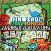 Addition Bingo and Subtraction Bingo Game (Dinosaur Themed)