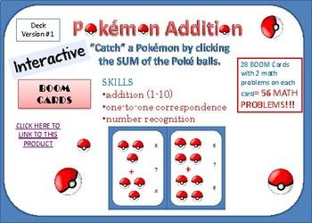 Pokemon Addition BOOM CARDS   (version #1)