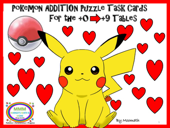 Pokemon Addition Hidden Picture Puzzles, Task Cards, and Centers