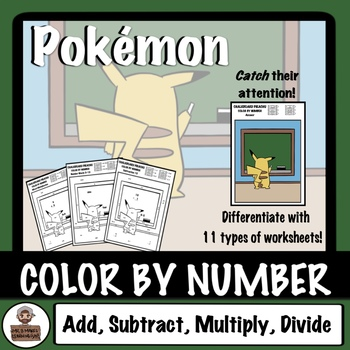 Pokémon Back To School - Color By Number - Chalkboard Pikachu