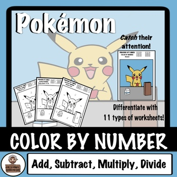 Pokémon Back To School - Color By Number - Pikachu At Lunch