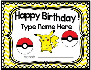 Pokemon Back to School Free Birthday Certificate!