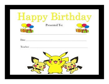 Pokemon Birthday Certificates (Includes 6 Certificates)