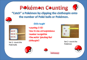 "Pokémon COUNTING - ""Catch"" the Pokémon with a Clothespin- 2 sets"
