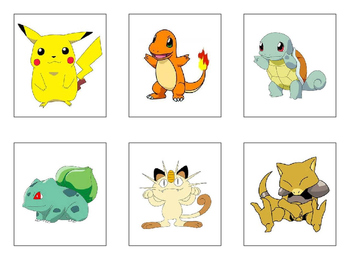 Pokémon Cards for Seating Chart