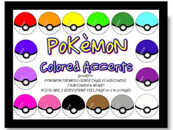 Pokemon Classroom Theme ACCENTS LOCKER TAGS FLASH CARDS TA