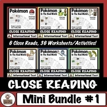Pokémon Close Reading MINI BUNDLE #1: Passages and Companion Worksheets
