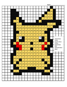 Pokemon Color By Note Pikachu Evolution