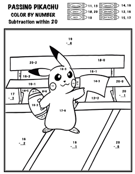 Pokémon Color By Number - Add, Subtract, Multiply, Divide - Passing Pikachu