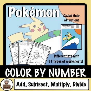 Pokémon Color By Number - Add, Subtract, Multiply, Divide - Surfing Pikachu