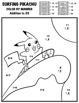 Pokémon Color By Number - Add, Subtract, Multiply, Divide ...