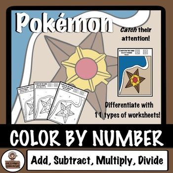 Pokémon Color By Number - Add, Subtraction, Multiply, Divide-Staryu In The Sand
