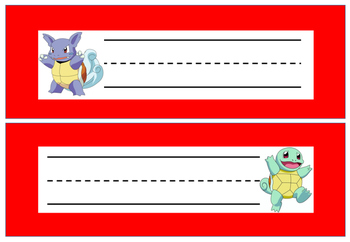 Pokemon Desk Plates / Name Tags / Tray Labels - Editable