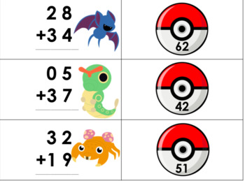 Pokemon Double Digit Addition and Subtraction WITH Regrouping Matching Game