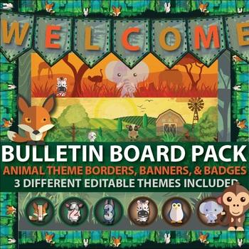 Back to School Bulletin Board Ideas - editable banner, borders, badges, & Signs