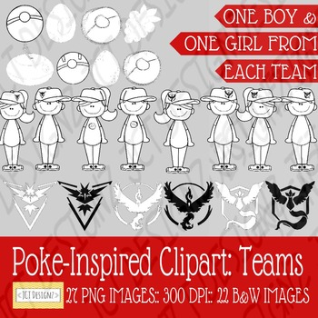 Poke-Inspired Clipart: Teams