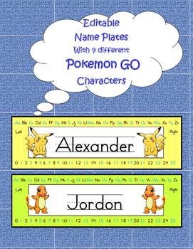 Pokemon editable name plates