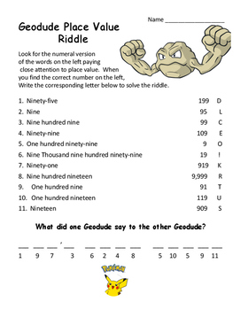 Pokemon Geodude Placevalue Math Riddle