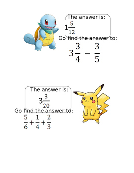 Pokemon Go! Adding and Subtracting Fractions