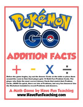 Pokemon Go! Addition Facts Activity