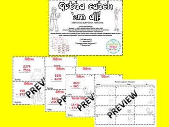 Pokemon Go Addition & Subtraction Task Cards
