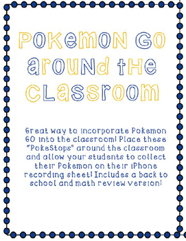 Pokemon Go! Around The Classroom Task Cards Editable Printable!