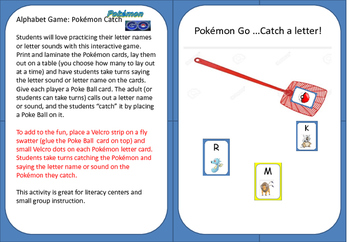 Pokémon Go! Catch the Letter Game (letter name or sound)