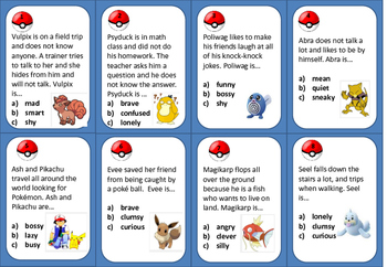 Pokémon Go- Character Traits Task Cards or Exit Tickets (G