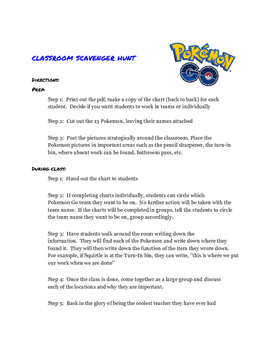 Pokemon Go Classroom Scavenger Hunt - First Day of School
