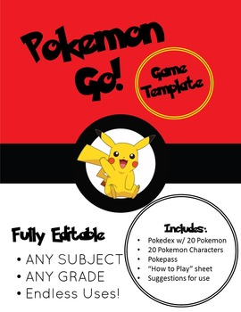 Pokemon Go! Fun Simulation Game/Activity - editable for any grade or subject