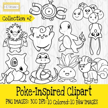 Poke Inspired Clipart: Collection 2