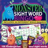 Sight Word Bingo K-1st grade Cute Monster Theme