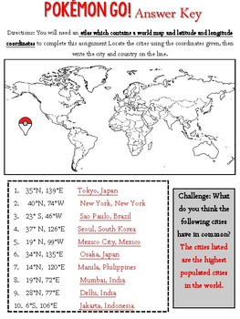 Pokemon Go Latitude And Longitude Activity By Thrifty Teacher Boutique