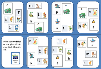 Pokémon Go! Letter Sound & Name MATCH IT  QUICK (Spot It!)