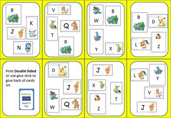 Pokémon Go! Letter Sound & Name MATCH IT QUICK (like Spot It!) SET 2