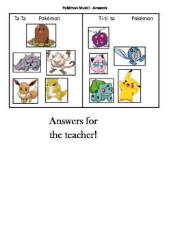 Pokemon Go Music Task Ta Ta  Ti-ti Ta  and Ta Ti-ti With Answers