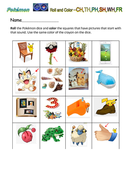 Pokémon Go! Roll and Color- DIGRAPH SOUNDS -CH,TH,PH,SH,WH,FR