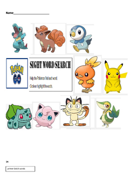 Pokémon Go ! Sight Word Search  Dolch Primer